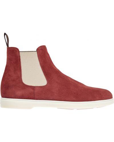Повседневные замшевые красные ботинки челси Santoni