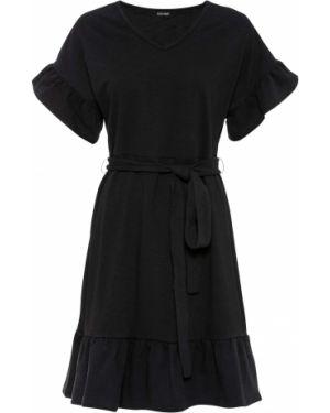 Платье с поясом с рукавами с оборками Bonprix