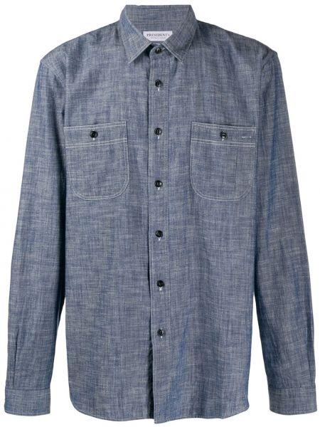 Джинсовая рубашка в полоску с карманами President's
