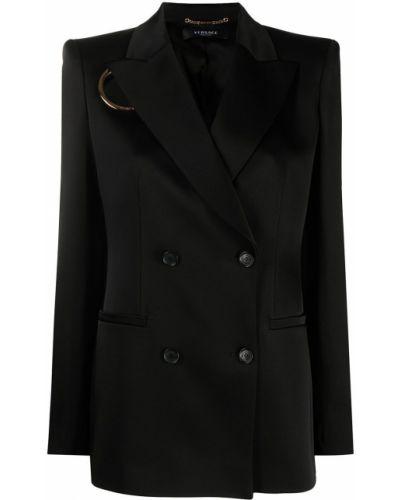 Черный удлиненный пиджак двубортный на пуговицах Versace