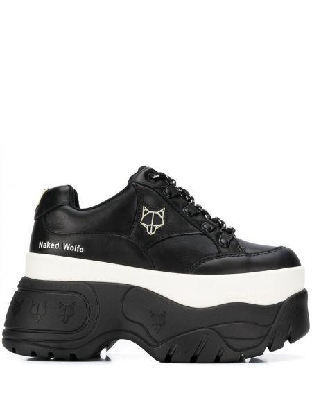 Sneakersy na platformie skórzane czarny i biały Naked Wolfe