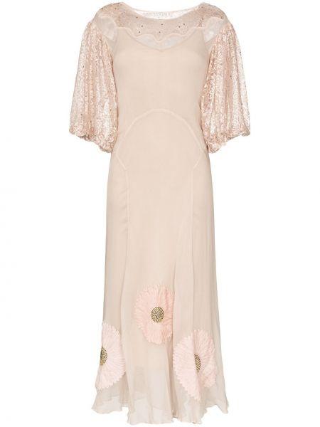 Шелковое розовое платье макси винтажное с вырезом One Vintage