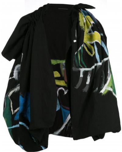С рукавами шерстяная черная накидка с декоративной отделкой Yohji Yamamoto
