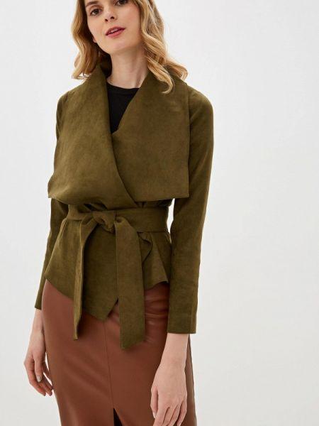 Кожаная куртка осенняя зеленая Ruxara