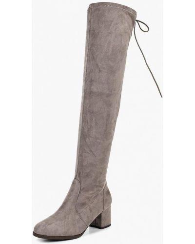 Ботфорты на каблуке серые замшевые Style Shoes