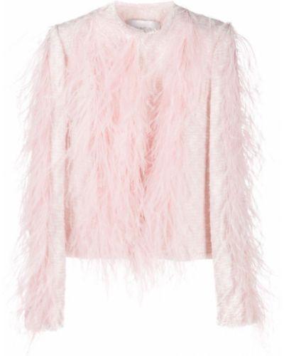 Шерстяной розовый удлиненный пиджак с перьями Giambattista Valli