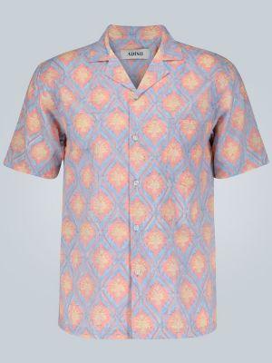 Розовая прямая рубашка с воротником Adish