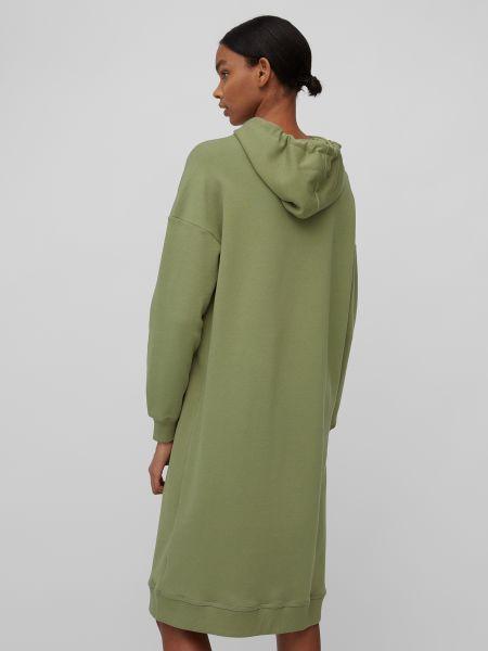 Зеленое платье макси с капюшоном в рубчик Marc O'polo