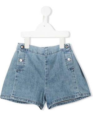Хлопковые синие джинсовые шорты свободного кроя Knot