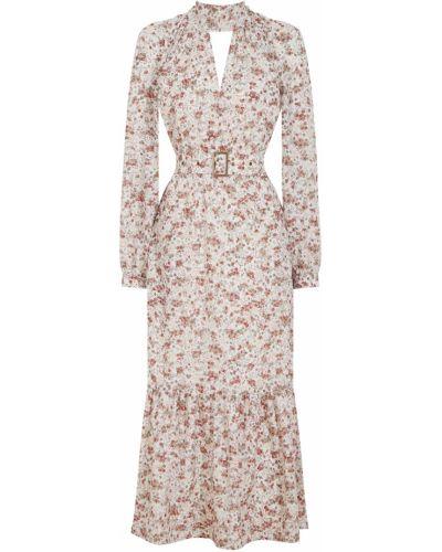 Платье миди в цветочный принт с воротником из вискозы Laroom