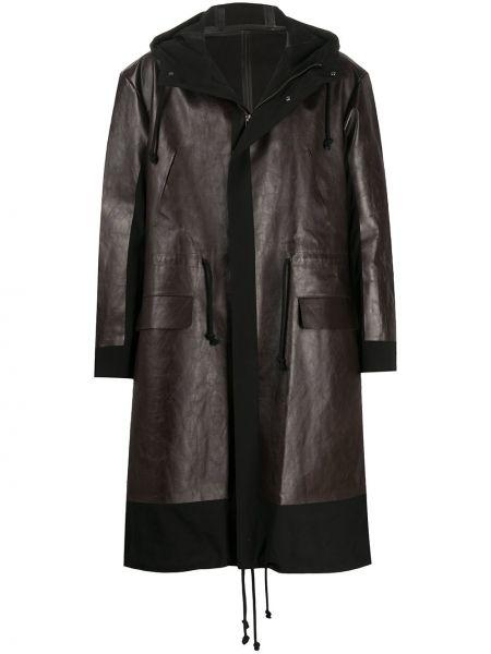 Czarny płaszcz wełniany z kapturem Undercover