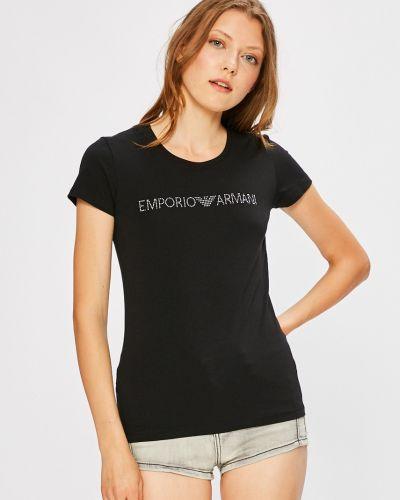 Черная футболка облегающая Emporio Armani