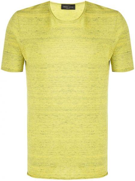 Koszula krótkie z krótkim rękawem prosto żółty Roberto Collina