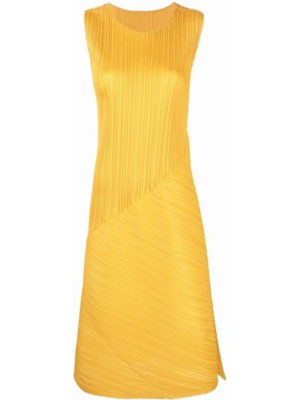 Плиссированное платье - желтое Pleats Please Issey Miyake