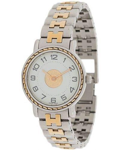 Золотистые кварцевые часы золотые круглые Hermes