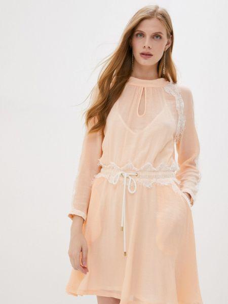 Бежевое прямое платье Laroom