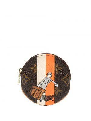 Brązowy portfel skórzany z printem Louis Vuitton