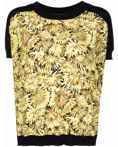 Czarna T-shirt z nadrukiem krótki rękaw w kwiaty Piazza Sempione