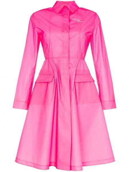 Расклешенный розовый пальто классическое с воротником Palm Angels