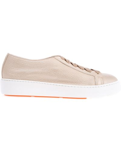 Кожаные кроссовки на шнуровке яркие Santoni