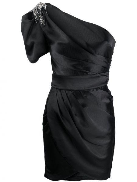 Черное приталенное платье на одно плечо с декольте Misha Collection