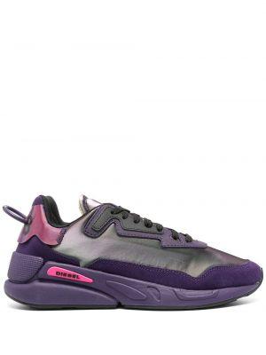 Фиолетовые массивные кроссовки на шнуровке Diesel