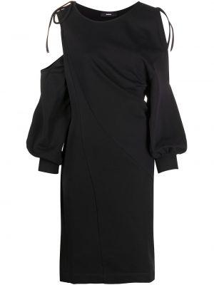 С рукавами черное платье с открытыми плечами Diesel