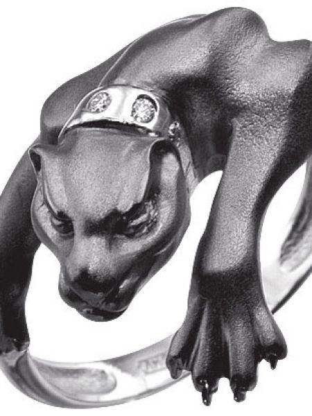 Кольцо с бриллиантом черный альдзена