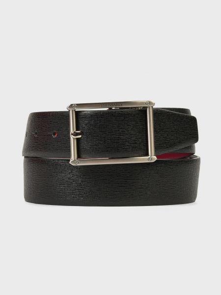 Черный кожаный ремень с пряжкой Trussardi Jeans