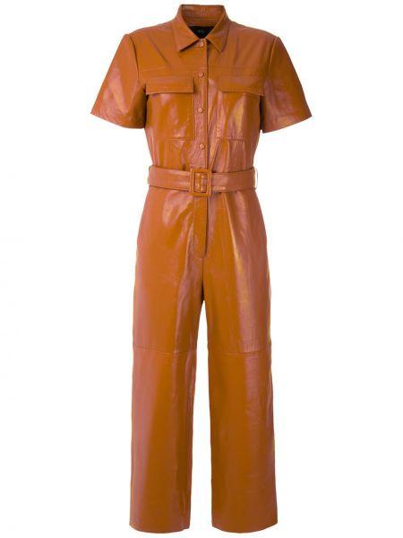Кожаный комбинезон - коричневый Eva
