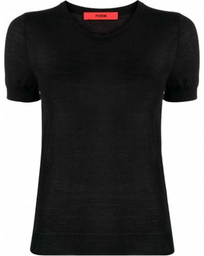 Черная футболка с вырезом с воротником Roberto Collina