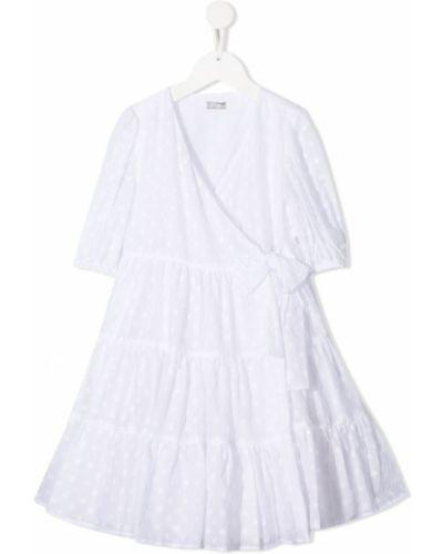 Белое платье мини в горошек с запахом Il Gufo