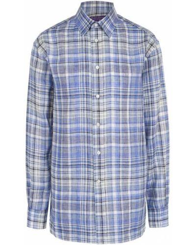 Блузка с длинным рукавом в клетку льняная Ralph Lauren