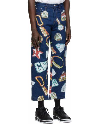Niebieskie jeansy z paskiem srebrne Gcds