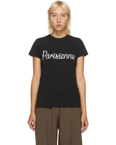 Хлопковая черная рубашка с коротким рукавом с воротником с короткими рукавами Maison Kitsuné