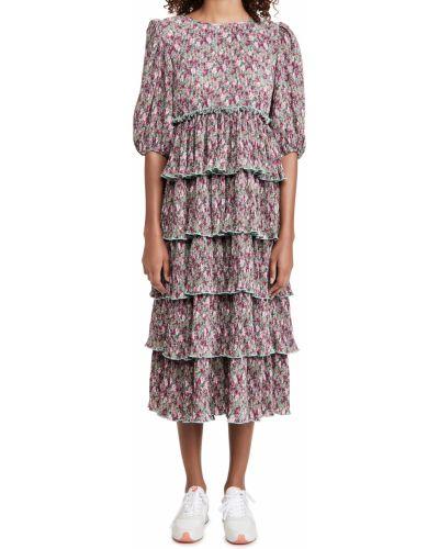 Длинное платье макси с длинными рукавами на резинке English Factory