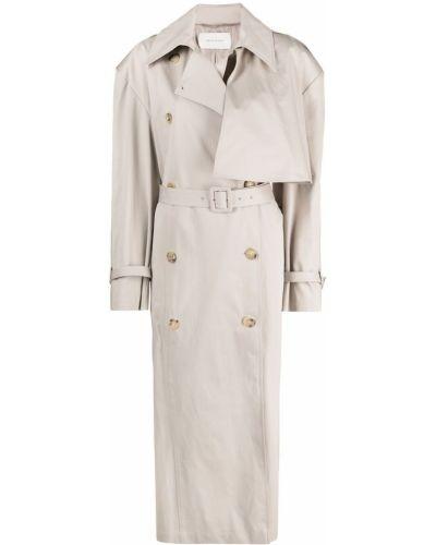Бежевое пальто классическое двубортное с воротником Magda Butrym