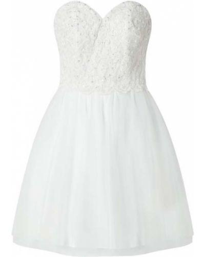 Biała sukienka koktajlowa rozkloszowana Laona