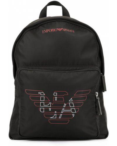 Czarny plecak bawełniany Emporio Armani Kids