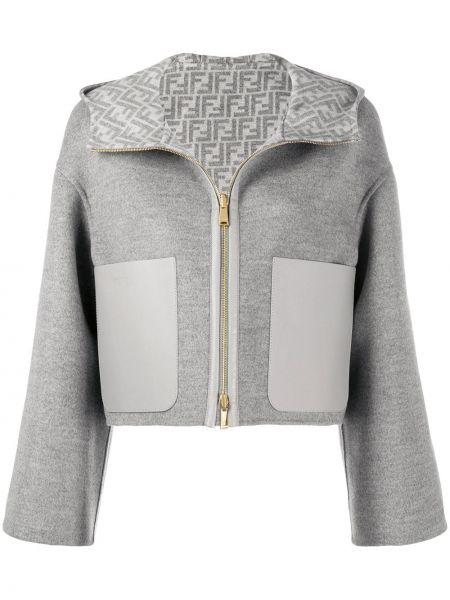 Серая кожаная короткая куртка на молнии Fendi