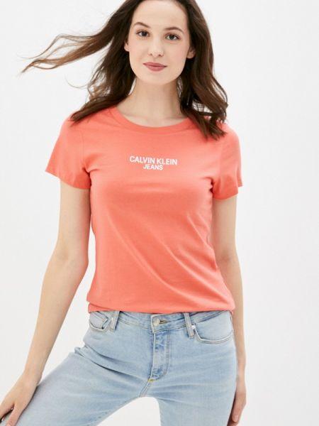 Красная с рукавами футболка Calvin Klein Jeans