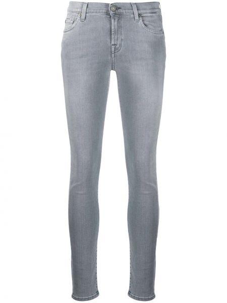 Серые джинсы-скинни на молнии с поясом 7 For All Mankind