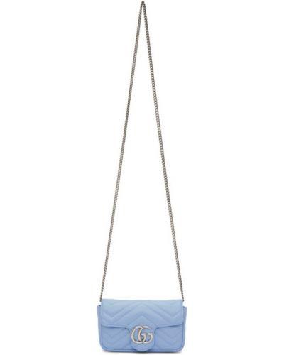 Pikowana niebieski portfel skórzany z prawdziwej skóry z łatami Gucci