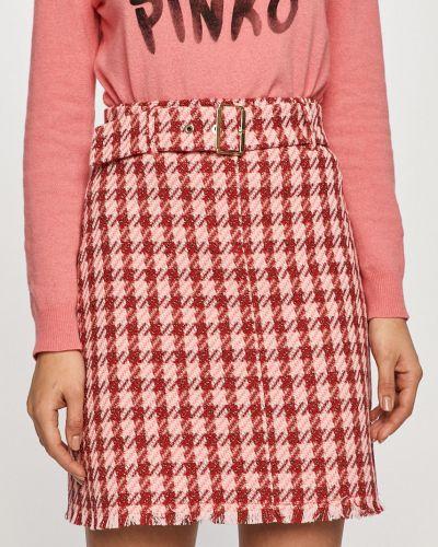 Różowa spódnica mini materiałowa na co dzień Pinko