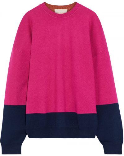 Prążkowany różowy sweter z wiskozy Roksanda