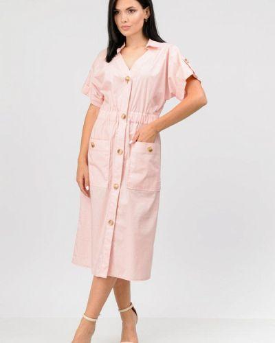 Розовое платье осеннее Raslov