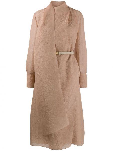 Платье с поясом с драпировкой с рукавами Fendi