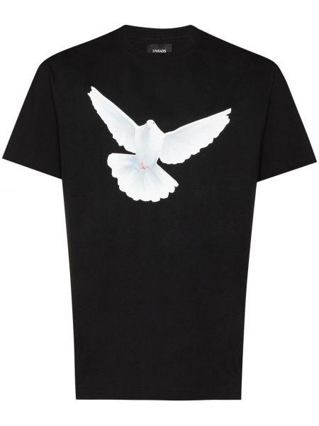 Czarny t-shirt bawełniany z printem 3.paradis