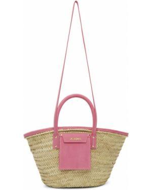Кожаная сумка розовый соломенная Jacquemus