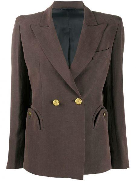 С рукавами шелковая коричневая куртка двубортная Blazé Milano